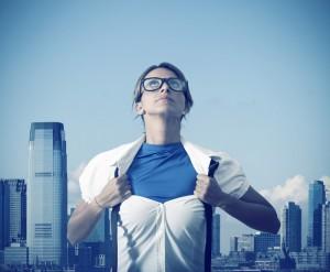 Superwoman als Bild für stark in der Umsetzung