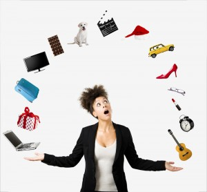 Work-Life-Balance, jonglierende Frau