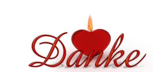 Dankbarkeit, Danke mit Herz als Kerze