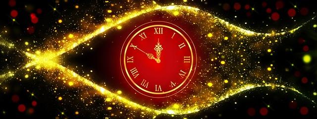 Timeline - Uhr von zwei Linien umrahmt